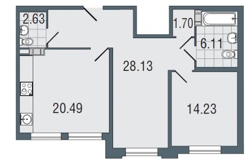 2-комнатная квартира на продажу (73,3 м<sup>2</sup>)