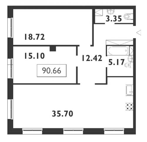3-комнатная квартира на продажу (90,7 м<sup>2</sup>)