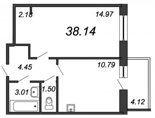 1-комнатная квартира на продажу (38,1 м<sup>2</sup>)