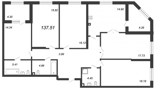 5-комнатная квартира на продажу (137,5 м<sup>2</sup>)