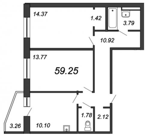 2-комнатная квартира на продажу (59,3 м<sup>2</sup>)