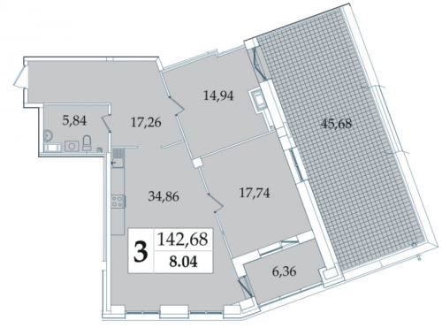 3-комнатная квартира на продажу (141,4 м<sup>2</sup>)