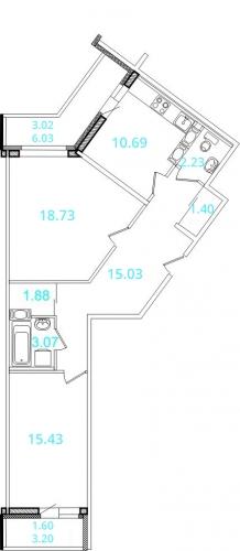 2-комнатная квартира на продажу (75,5 м<sup>2</sup>)