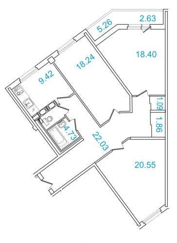 3-комнатная квартира на продажу (101,3 м<sup>2</sup>)