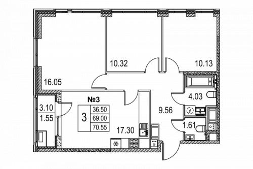 3-комнатная квартира на продажу (70,6 м<sup>2</sup>)