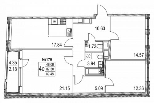 3-комнатная квартира на продажу (89,5 м<sup>2</sup>)