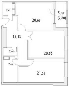 2-комнатная квартира на продажу (93,4 м<sup>2</sup>)