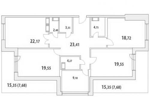 3-комнатная квартира на продажу (154,6 м<sup>2</sup>)