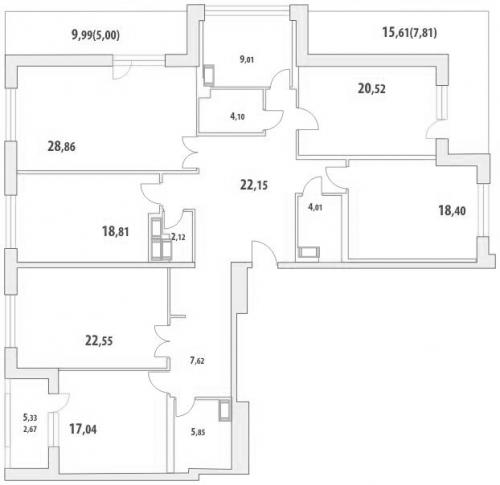 5-комнатная квартира на продажу (206,9 м<sup>2</sup>)