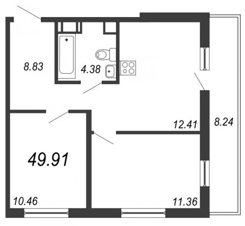 3-комнатная квартира на продажу (52,4 м<sup>2</sup>)