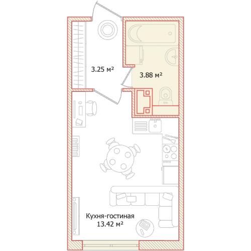 1-комнатная квартира на продажу (20,6 м<sup>2</sup>)