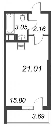 Студия на продажу (21,0 м<sup>2</sup>)