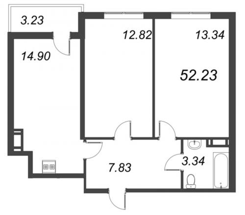 3-комнатная квартира на продажу (52,2 м<sup>2</sup>)