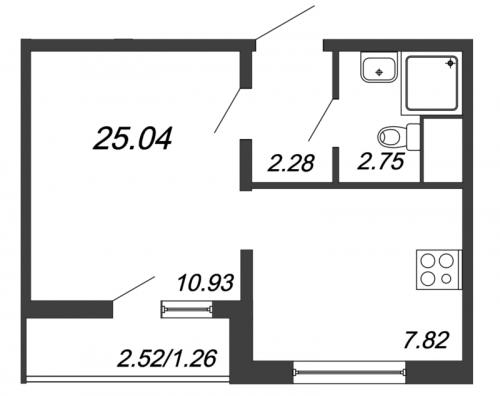 1-комнатная квартира на продажу (25,0 м<sup>2</sup>)