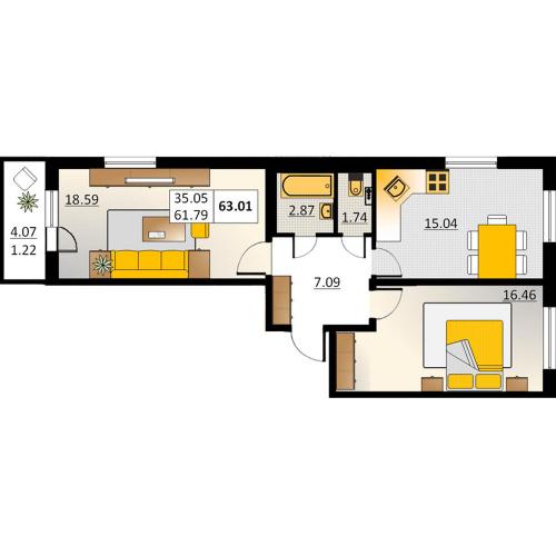 2-комнатная квартира на продажу (63,0 м<sup>2</sup>)