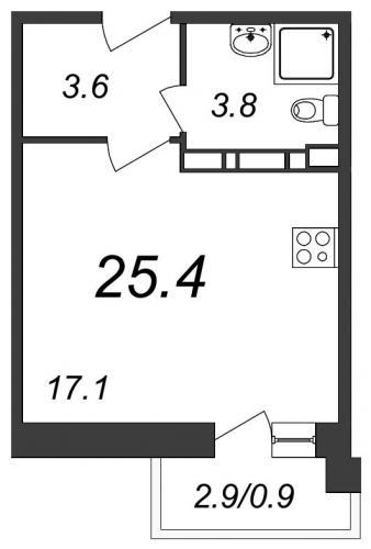 Студия на продажу (25,4 м<sup>2</sup>)
