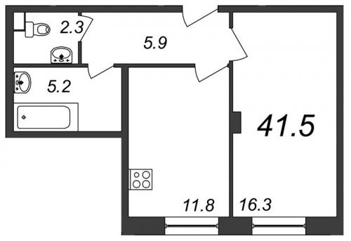 1-комнатная квартира на продажу (41,5 м<sup>2</sup>)