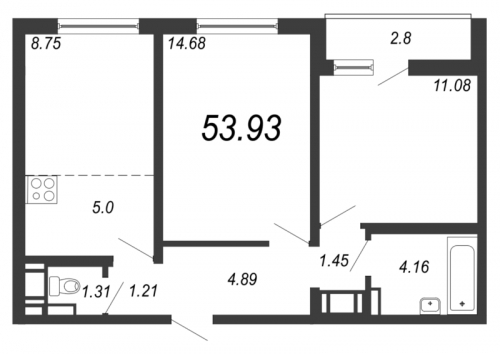 3-комнатная квартира на продажу (53,9 м<sup>2</sup>)