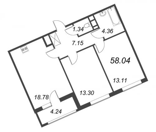 3-комнатная квартира на продажу (58,0 м<sup>2</sup>)