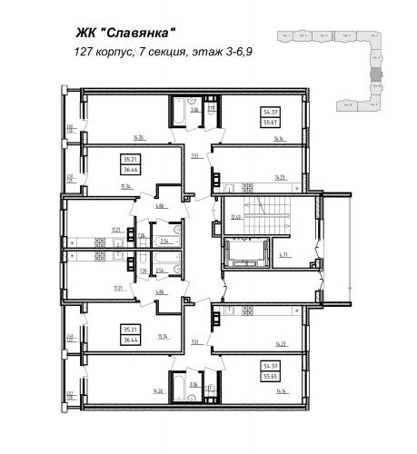 3-комнатная квартира на продажу (55,7 м<sup>2</sup>)