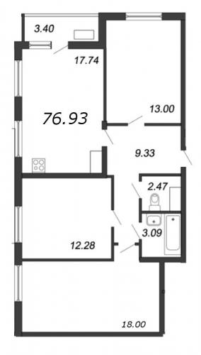 4-комнатная квартира на продажу (76,9 м<sup>2</sup>)