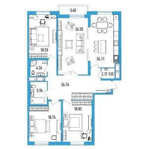 4-комнатная квартира на продажу (145,0 м<sup>2</sup>)