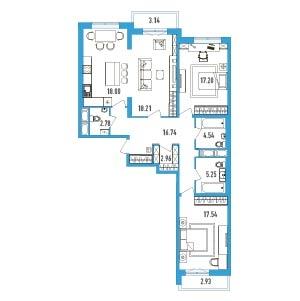 3-комнатная квартира на продажу (106,0 м<sup>2</sup>)