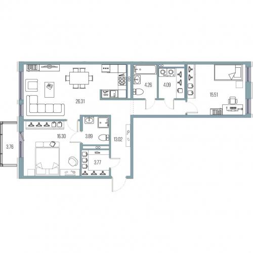 2-комнатная квартира на продажу (87,2 м<sup>2</sup>)