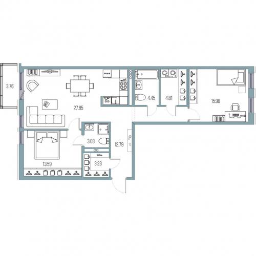 2-комнатная квартира на продажу (85,3 м<sup>2</sup>)