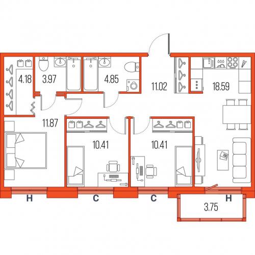 3-комнатная квартира на продажу (75,3 м<sup>2</sup>)