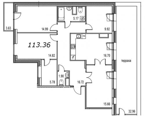 4-комнатная квартира на продажу (118,7 м<sup>2</sup>)