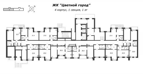 3-комнатная квартира на продажу (50,8 м<sup>2</sup>)