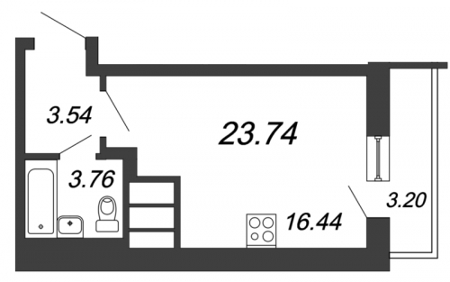 Студия на продажу (23,7 м<sup>2</sup>)