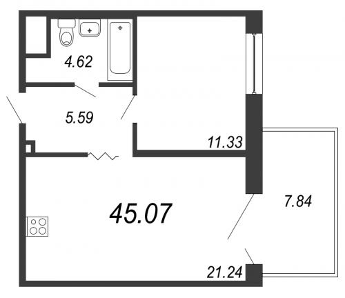 2-комнатная квартира на продажу (45,1 м<sup>2</sup>)
