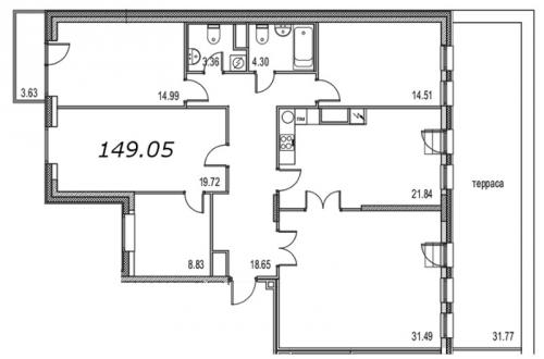 4-комнатная квартира на продажу (157,7 м<sup>2</sup>)