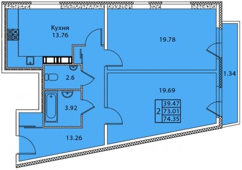 2-комнатная квартира на продажу (74,4 м<sup>2</sup>)