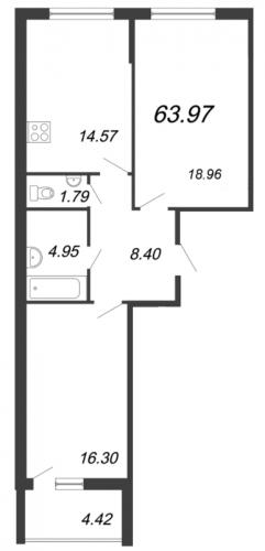 2-комнатная квартира на продажу (65,0 м<sup>2</sup>)