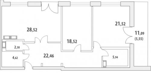2-комнатная квартира на продажу (110,5 м<sup>2</sup>)
