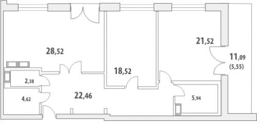 2-комнатная квартира на продажу (110,9 м<sup>2</sup>)