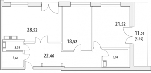 2-комнатная квартира на продажу (111,3 м<sup>2</sup>)