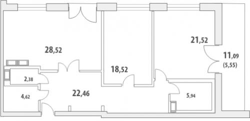 2-комнатная квартира на продажу (110,8 м<sup>2</sup>)