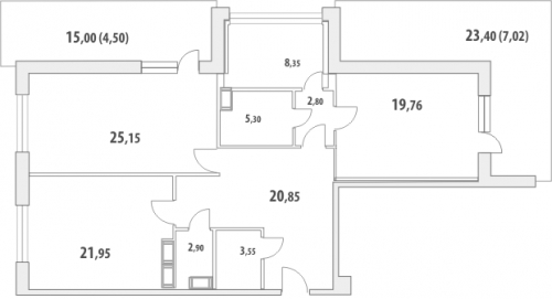 2-комнатная квартира на продажу (122,7 м<sup>2</sup>)