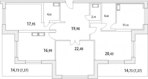 3-комнатная квартира на продажу (139,7 м<sup>2</sup>)