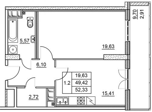 1-комнатная квартира на продажу (52,3 м<sup>2</sup>)