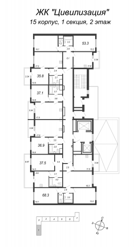 3-комнатная квартира на продажу (68,3 м<sup>2</sup>)