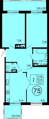 3-комнатная квартира на продажу (85,0 м<sup>2</sup>)