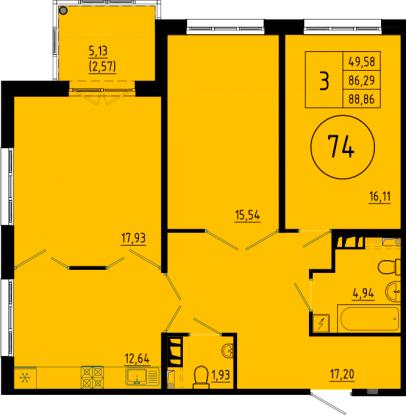 3-комнатная квартира на продажу (86,3 м<sup>2</sup>)