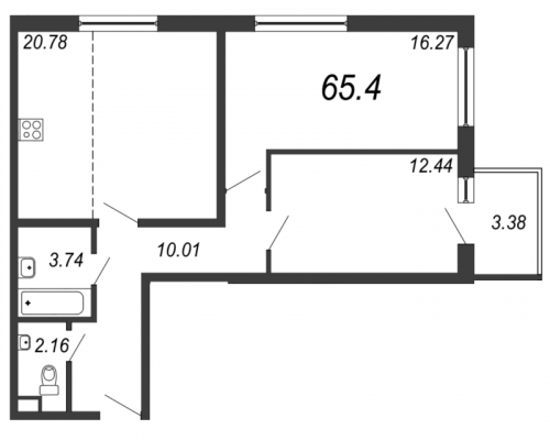 3-комнатная квартира на продажу (65,4 м<sup>2</sup>)