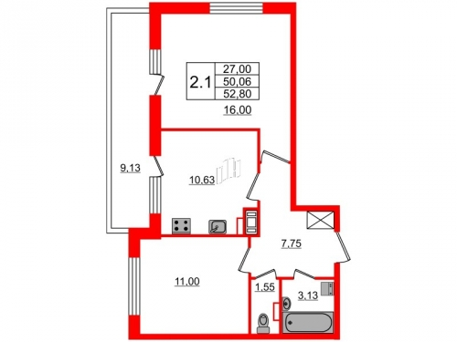 2-комнатная квартира на продажу (50,1 м<sup>2</sup>)