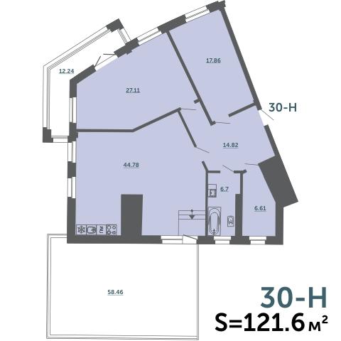 4-комнатная квартира на продажу (121,6 м<sup>2</sup>)